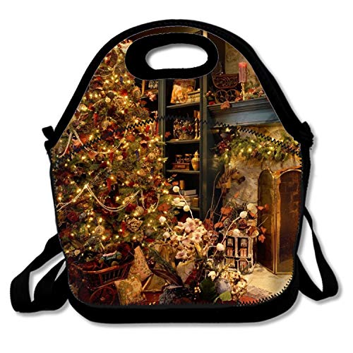 shunshunfeng Holiday Christmas Tree Ornaments Fireplace Lunch Box Insulated Lunch Bag Large Cooler Tote Bag