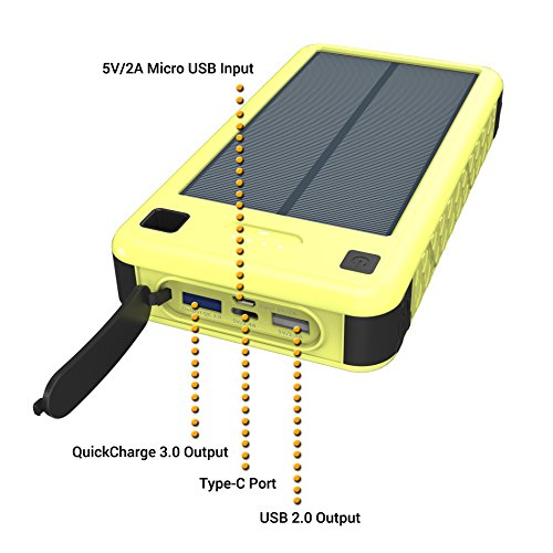 26800mAh Solar Charger, ZeroLemon SolarJuice USB-C/QC 3.0 Portable Solar Battery Charger Outdoor Solar Power Charger with Multi-functional LED Flashlight 400 Lumens, 4 Light Modes, S.O.S. morse code