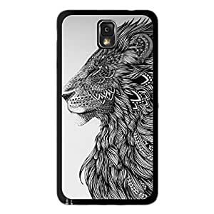 Season.C Tribal Black White Lion Hard Back Case Cover for Samsung Galaxy Note 3 III N9000 by runtopwell