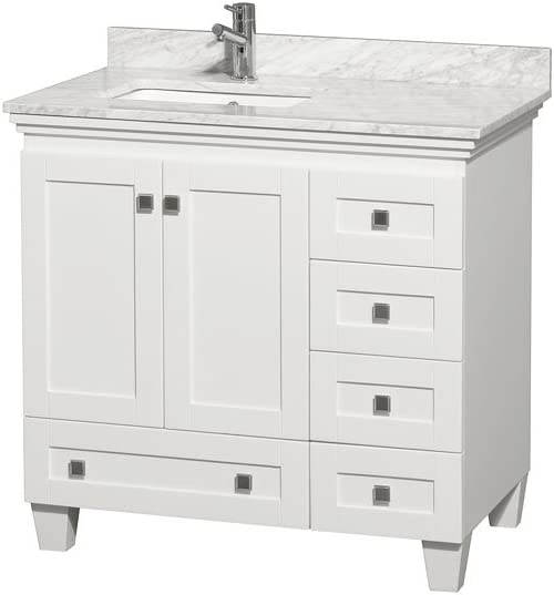 Wyndham Collection Acclaim 36 inch Single Bathroom Vanity in White, White Carrara Marble Countertop, Undermount Square Sink, and No Mirror