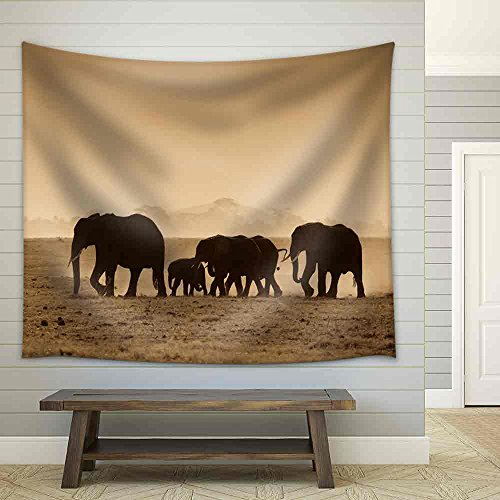 - wall26 - Silhouettes of Elephants, Amboseli National Park, Kenya - Fabric Wall Tapestry Home Decor - 68x80 inches