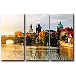 3 Pieces Wall Art Painting Prague Characteristic Building Pictures Prints On Canvas City The Picture Decor Oil For Home Modern Decoration Print For Furniture