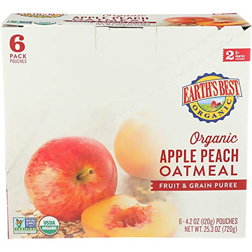 518Wl4wdbZL - Earth's Best Organic Stage 2 Baby Food, Apple Peach And Oatmeal, 4.2 Oz. Pouch (Pack Of 12)
