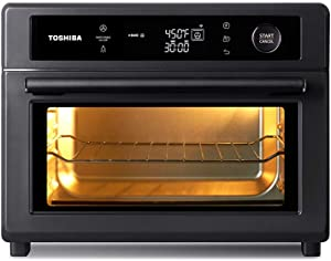 Toshiba Air Fryer Toaster Oven, 13-in-1 Digital Convection Oven for Pizza, Chicken, Cookies, 25L, 1750W, Charcoal Grey, 6 slice (TL2-AC25GZA(GR))