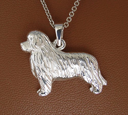 (Small Sterling Silver Newfoundland Standing Study Pendant)