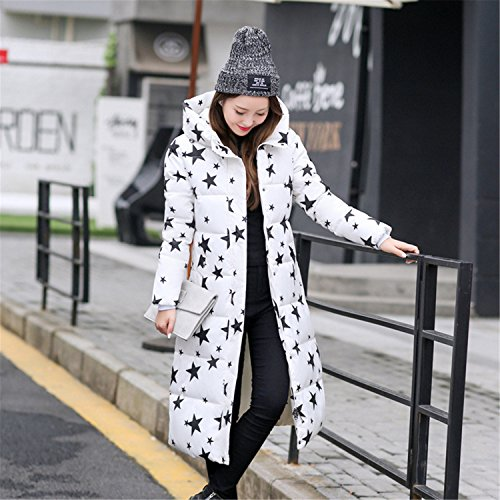 Feilongzaitianba Wadded Cotton Jacket Women Winter Coat Female Fashion Warm Parkas Hooded Women'S Down Jacket Casual Coat Plus Size 3Xl C2381 Star White M