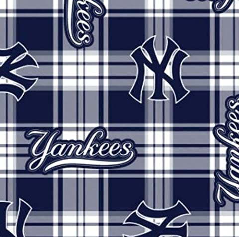 MLB New York Yankees Plaid Baseball Sports Team Fleece Fabric Print by the Yard - New York Yankees Fabric