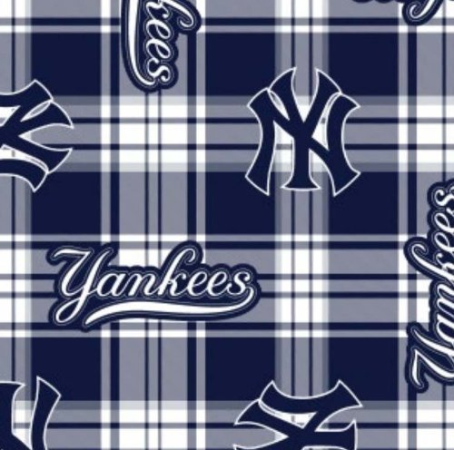 Plaid Baseball Sports Team Fleece Fabric Print by the Yard (Ny Yankees Fabric)