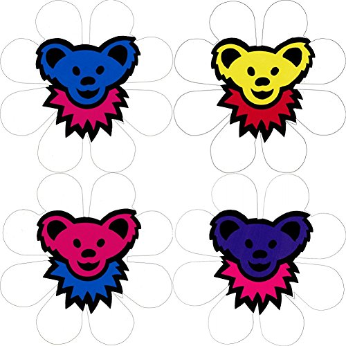 Bear Head & Flower Sticker Set - Blue, Yellow, Pink and Purple Heads on White Daisies - Pack Includes 4 Die Cut Stickers / Decals ()