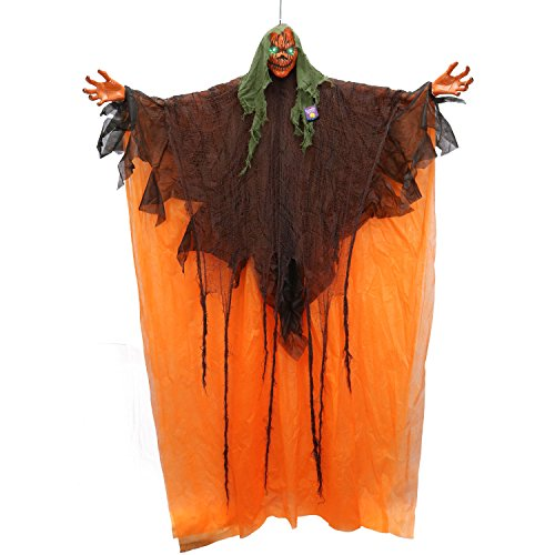 Halloween Haunters Hanging 6 Foot Scary Orange Pumpkin Head Ghost Zombie with Flashing Green LED Eyes Prop Decoration - Creepy Evil Face Haunted House Graveyard Entryway Display ()