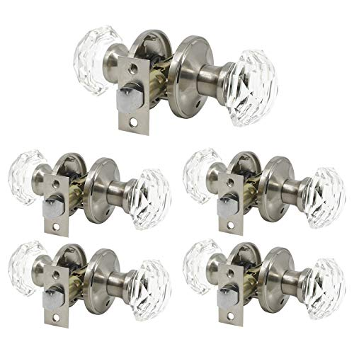 (5 Pack Keyless Privacy Door Knobs(Locked Inside), Crystal Glass Door Handles for Bedroom Bathroom, Octagon Diamond Shape in Modern/Superb Design-Satin Nickel Finish)