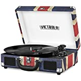 Victrola Vintage 3-Speed Bluetooth Suitcase Turntable with Speakers, UK Flag