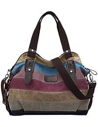 Coofit Ladies Hobo Handbags Multi-Color Striped Canvas Shoulder Tote Bag for Women