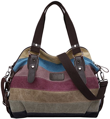 Coofit Stripe Leisure Canvas Top Handle Cross Body Bag Tote Handbags for Women Model A