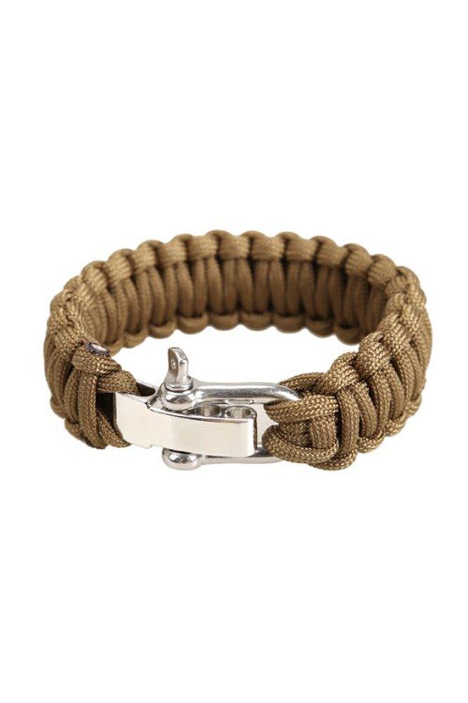 Cuerda del paracaidas - TOOGOO(R)Ajustable Pulsera de sobrevivir para cuerda del paracaidas con cierre metalico de acero inoxidable (Marron)