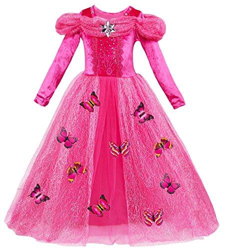 Le SSara Prinsessenjurk met lange mouwen voor meisjes, cosplay-kostuum, fancy vlinderjurk.
