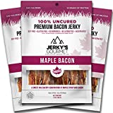 Maple Bacon Grass Fed Pork Jerky – 100 Calorie Snacks – Gourmet, Healthy, High Protein, Soy Free & Gluten Free (3 Packs)