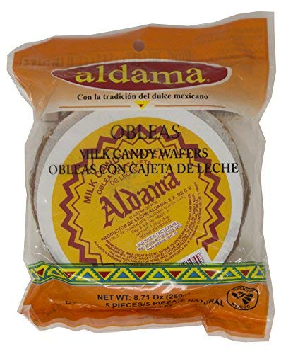 - Aldama Oblea Large Milk Candy Wafer, Soft and Chewy, Mexican Candy (5 pieces per bag)