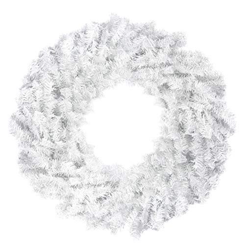 """Northlight 24"""" White Canadian Pine Artificial Christmas Wreath - Unlit"""