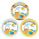 Beach Thank You Sticker Labels - Boy Girl Children Birthday Baby Shower Party Supplies - Set of 30