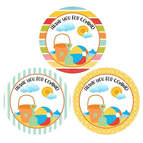 Beach Thank You Sticker Labels - Boy Girl Children Birthday Baby Shower Party Supplies - Set of 30 by Adore By Nat