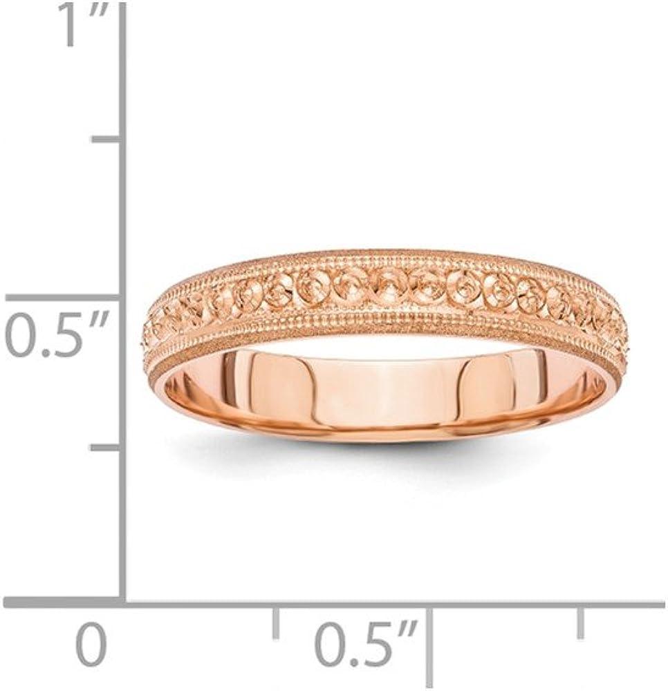Bridal Wedding Bands Fancy Bands 14K Rose Gold 3mm Design Etched Wedding Band Size 6