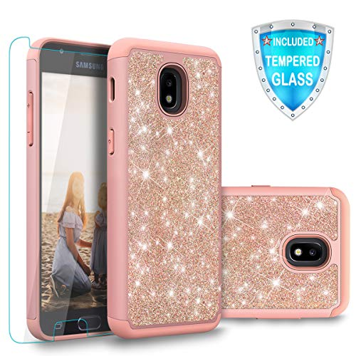 Cellularvilla Galaxy J3 2018/J3 Achieve/J3 Express Prime 3/J3 Prime 2/J3 Emerge 2018/Amp Prime 3/J3 Eclipse 2/J3 Aura/J3 Star Case with Tempered Glass Glitter Dual Layer Protective Cover (Rose Gold)