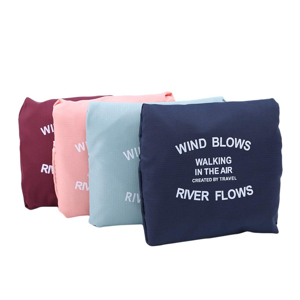HAOWANG Large Capacity Foldable Travel Bag Clothing Bag Shopping Shoulder Nylon Bag Women's Trolley Bag Luggage Bag Wine Red by HAOWANG (Image #6)