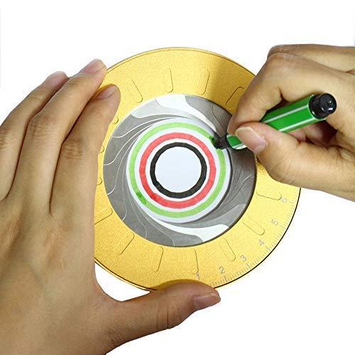 "Aluminum Alloy Drawing Circles Geometric Tool - 5"" Adjustable Diameter Circular Drawing Stencil 360 Degrees Ring Ruler Templates Tool"