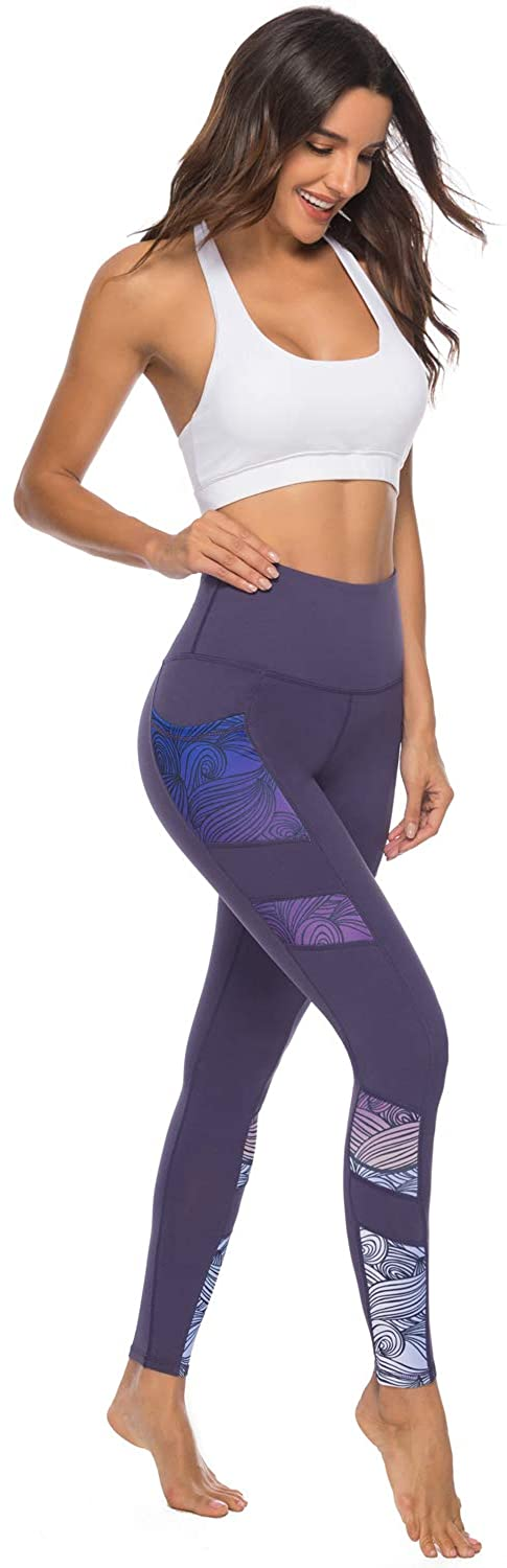 Persit Women's Printed Yoga Pants with 2 Pockets, High Waist Non See-Through Tummy Control 4 Way Stretch Leggings: Clothing