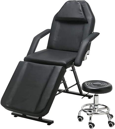 Juego de mesa de masaje y taburete plegable para salón de belleza, spa, tatuaje, pedicura, terapia, sofá cama con taburete, color blanco Arts_and_Crafts negro: Amazon.es: Hogar