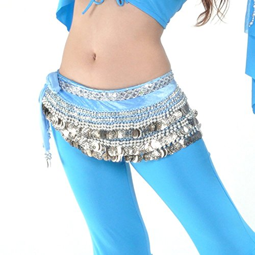 AK-Trading Multi-Row 258 Silver Coins Velvet Belly Dance Hip Scarf Turquoise ()