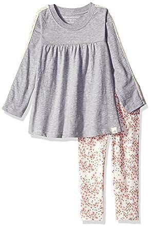 Burt's Bees Kids Little Girls' Organic Crochet Sleeve Tee and Legging, Heather Grey, 5