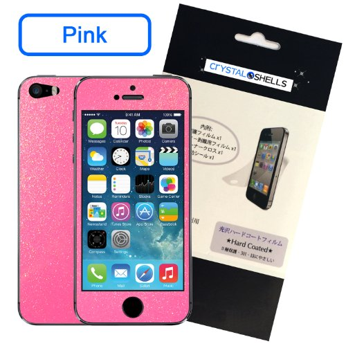 Crystal Shells Screen Protector Bubble-Free HD True Touch for iPhone 5/5S - Retail Packaging - Pink Clear