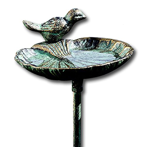 WHW Whole House Worlds Scallop Shell Garden Stake, Bird Feeder, Cast Iron, Rustic Green Patina, 3 Feet 2 ½ Inches Tall