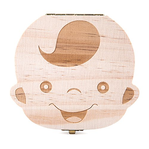 ELENKER Cute Personality Baby Teeth Box Save Wooden Boxes Deciduous Souvenir Box To Keep Childhood Memory (Boy)
