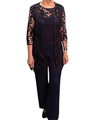 9aa025f6c293c Fitty Lell Women s Lace with Long Sleeve Mother of The Bride Pant Suits  Three Pieces Chiffon