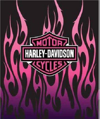 Harley Davidson ''Pink Flames'' Royal Plush Raschel Throw Blanket 60''x80''