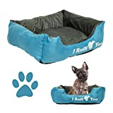 Dog Pet Bed Rectangle Plush Soft Suede Cuddler, 22″ x 18″ I Ruff You Blue and Gray