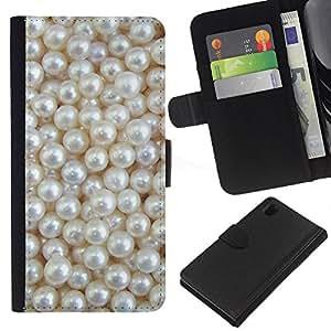 EJOY---La carpeta del tirón la caja de cuero de alta calidad de la PU Caso protector / Sony Xperia Z1 L39 / --Blanca Rich joya de la perla de la gema