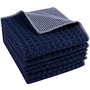 Lifaith Microfiber Waffle Weave Dish Cloth Best Kitchen Cloths Cleaning Cloths With Poly Scour Side 12Inchx12Inch 6-Pack Dark Blue