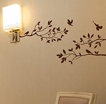 524a1c100ba Tree Branches Wall Decal with Birds Vinyl Sticker Nursery Leaves 40 quot   Wide X 18 quot