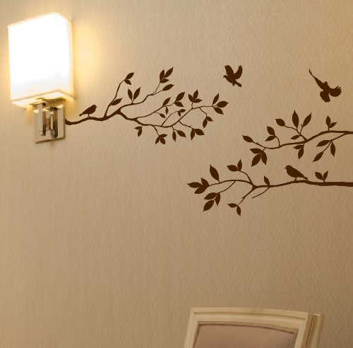 Tree Branches Wall Decal with Birds Vinyl Sticker Nursery Leaves 40