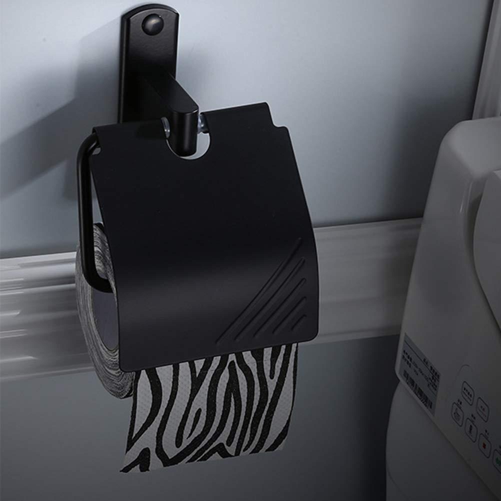 BESTONZON 1 Pieza Classic Papel Portarrollos Impermeable Mate Negro Montado en la Pared Alumenar Ba/ño Resistente al /óxido Toilet Tissue Holder