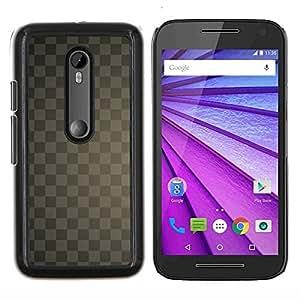 YiPhone /// Prima de resorte delgada de la cubierta del caso de Shell Armor - Textura a cuadros gris - Motorola MOTO G3 / Moto G (3nd Generation)