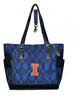 r25 Illinois Fighting Illini NCAA TOTE Argyle Hand Bag Purse college golf IL