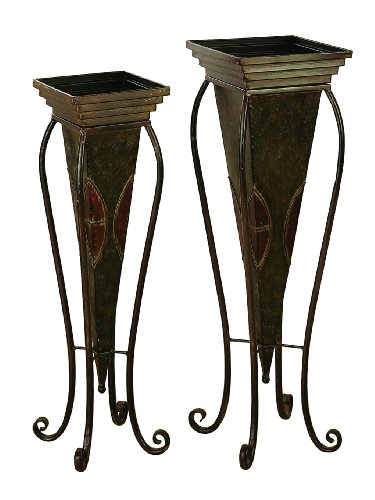 Deco 79 Benzara 22766 Metal Planter For In House Nature Enthusiasts, Set Of 2, 30