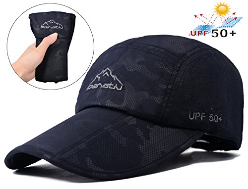 Baseball Cap Quick Dry Travel Hats UPF50+ Cooling Portable Sun Hats for Sports Golf Running Fishing Outdoor Research with Foldable Long Large Bill