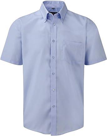 Russell Collection Camisas SIN Plancha Non Iron Azul Blue Sky Talla L (41-42) Manga Corta 100% Algodon: Amazon.es: Ropa y accesorios