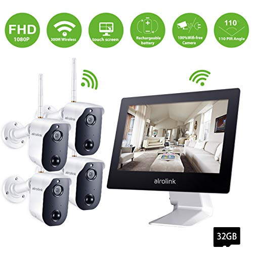 Alrolink 1080P Wireless Security Camera System,4CH All in One 9inch Wifi NVR with 4 Battery Powered Wireless Cameras,Indoor Outdoor 2 Way Audio PIR Motion Detection Night vision for home surveillance